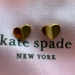 Kate Spade Gold Heart Stud Earrings NWOT